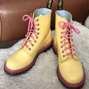 One of a kind yellow and pink doc martens